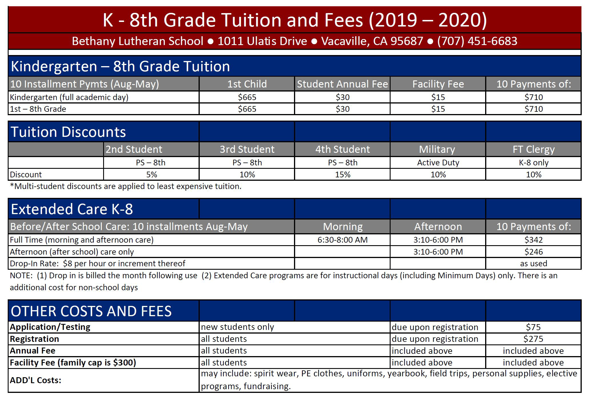 K-8 Tuition Fees | Bethany Lutheran Ministries
